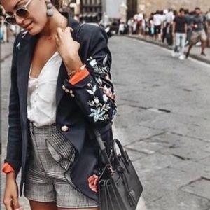 Zara XS M Pinstripe Blazer w/ Embroidery Flowers